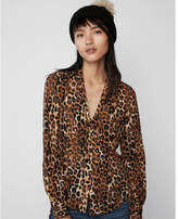 Express leopard fitted tie neck shirt