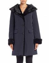 Jane Post Faux Fur-Accented Button-Front Coat