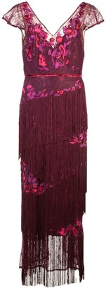 Marchesa Notte V-neck fringed dress