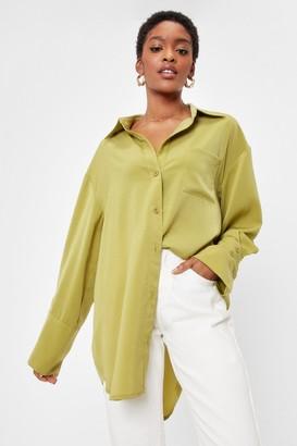Nasty Gal Womens Starting Over-sized Mini Shirt Dress - Olive