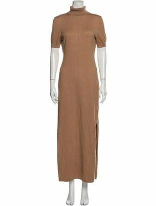 STAUD Turtleneck Long Dress Brown