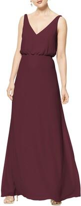 #Levkoff Blouson Chiffon A-Line Gown