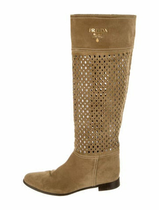 Prada Suede Cutout Accent Riding Boots Brown