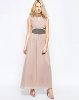 Little Mistress Maxi Dress with Wrap Front and Waist Detail