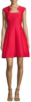 Halston Cap-Sleeve Structured Cocktail Dress, Scarlet