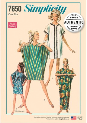 Simplicity 1960's Authentic Original Kite Dress Sewing Pattern, 7650, One Size