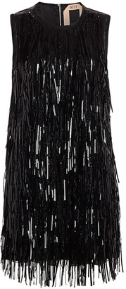 No.21 Sequin Fringe Sleeveless Shift Dress