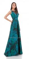 Carmen Marc Valvo Beaded Illusion V Neck Evening Dress