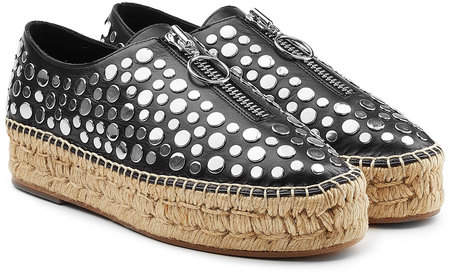 Alexander Wang Embellished Leather Espadrilles