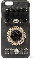 Dolce & Gabbana Embellished Textured-leather Iphone 6 Case - Black