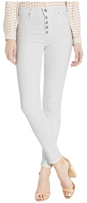 Hudson Barbara High-Rise Super Skinny Ankle Jeans with Exposed Buttons in White (White) Women's Jeans