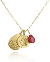 Satya Jewelry Lotus Om Ruby Gold Charm Necklace