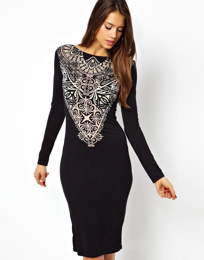 Lipsy Devore Midi Dress - Black