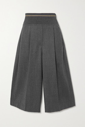 Brunello Cucinelli Pleated Wool-flannel Culottes - Gray