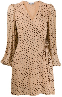 Ganni Polka-Dot Wrap Dress