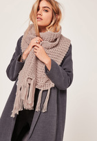 Missguided Chunky Knit Tassel Scarf Nude