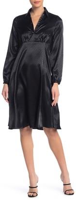 Spense Satin Long Sleeve Spread Collar Dress