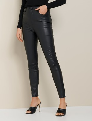 Forever New Penelope Faux Leather High-Waisted Pants - Black - 4
