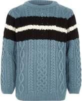 River Island Boys Blue cable knit stripe jumper