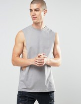 Asos Sleeveless T-Shirt With Extreme Dropped Armhole In Gray