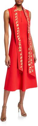 Oscar de la Renta Golden-Leaf Embroidered Sash Dress