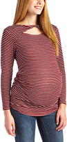 Glam Burgundy & White Stripe Twist-Cutout Maternity Long-Sleeve Top