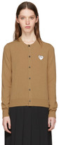 Comme des Garcons Tan & White Heart Patch Cardigan