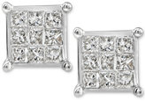 Macy's Diamond Quad Stud Earrings (1/4 ct. t.w.) in 10k White Gold