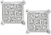 Macy's Diamond Quad Stud Earrings (1/4 ct. t.w.) in 10k White Gold