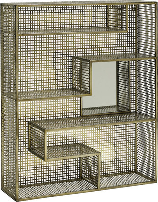 Nordal - Wall Rack with Mirror - Gold