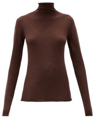 Jil Sander High-neck Wool-blend Long-sleeved Top - Brown