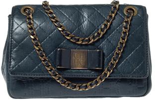 Carolina Herrera Deep Green Monogram Leather Flap Shoulder Bag