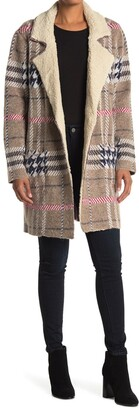 Cyrus Plaid Print Faux Shearling Lined Coat