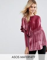Asos Top with Exaggerated Ruffle in Velvet