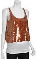 BCBGMAXAZRIA apricot sequin 'Reese' scoop neck tank