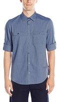 Calvin Klein Men's Denim Stripe Roll-Tab Long-Sleeve Button-Front Shirt