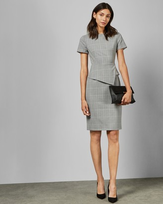 Ted Baker ARRIIA Check peplum tailored dress