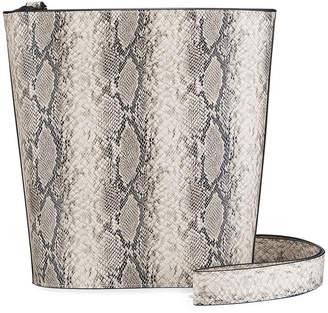 French Connection Kimberly Snake-Print Crossbody Bucket Bag