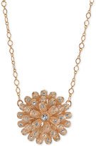 2028 Rose Gold-Tone Crystal Studded Flower Pendant Necklace