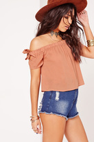 Missguided Bardot Tie Sleeve Cropped Blouse Pink