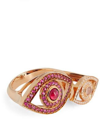 Netali Nissim Rose Gold, Quartz, Ruby And Diamond Protected Ring