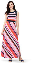 Lands' End Women's Petite Sleeveless Knit Maxi Dress-Pink Breeze Stripe
