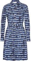 Tory Burch Derrick Tie-dyed Stretch-cotton Poplin Shirt Dress - Navy