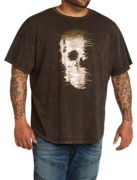Mvp Collections By Mo Vaughn Productions Mvp Collections Men's Big & Tall Gold Foil Hi Lo Skull Tee
