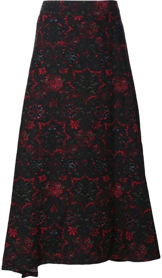 Y's abstract print full skirt