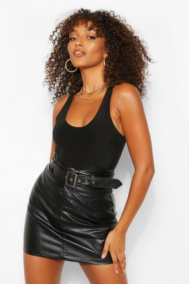 boohoo Tall Leather Look Waist Detail Belted Skirt