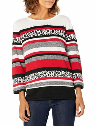 Alfred Dunner Women's Petite Animal Biadere Sweater with Side Slits