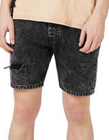 Topman Acid Wash Ripped Slim Denim Shorts