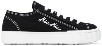 Miu Miu Logo Embroidered Sneakers