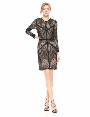 ASTR the Label Women's Long Sleeve LACE Illusion Bodycon Short Dress